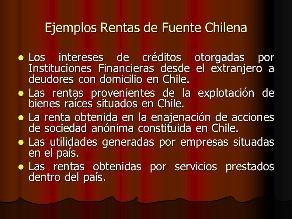 Ejemplos Rentas de Fuente Chilena Los intereses de créditos otorgadas por Instituciones Financieras desde el extranjero a deudores con domicilio en Ch