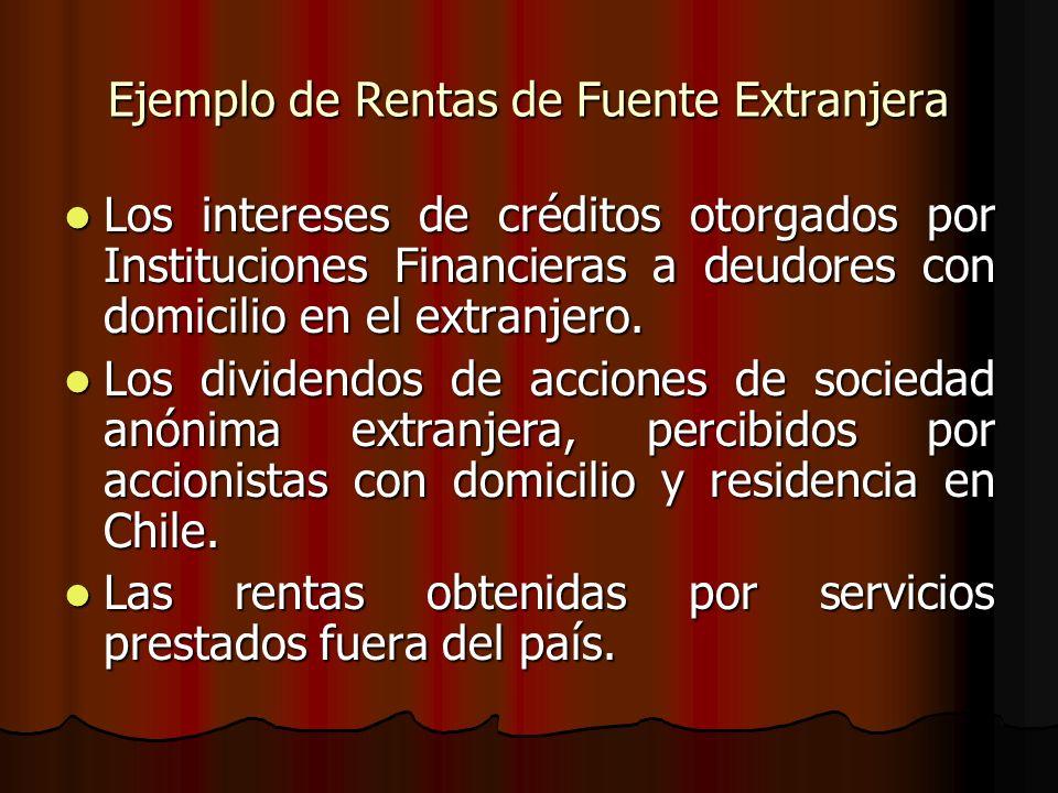 Ejemplo de Rentas de Fuente Extranjera Los intereses de créditos otorgados por Instituciones Financieras a deudores con domicilio en el extranjero. Lo