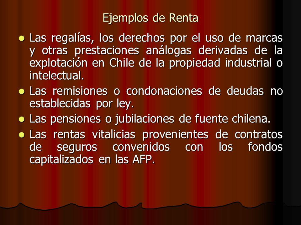 Ejemplos de Renta Las regalías, los derechos por el uso de marcas y otras prestaciones análogas derivadas de la explotación en Chile de la propiedad i