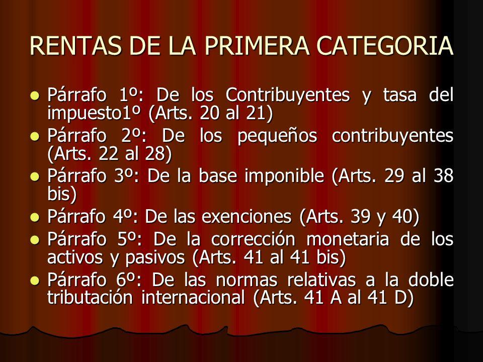 RENTAS DE LA PRIMERA CATEGORIA Párrafo 1º: De los Contribuyentes y tasa del impuesto1º (Arts. 20 al 21) Párrafo 1º: De los Contribuyentes y tasa del i