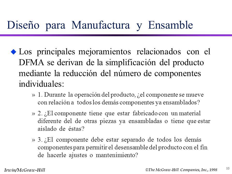 © The McGraw-Hill Companies, Inc., 1998 Irwin/McGraw-Hill 10 Diseño para Manufactura y Ensamble u Los principales mejoramientos relacionados con el DF