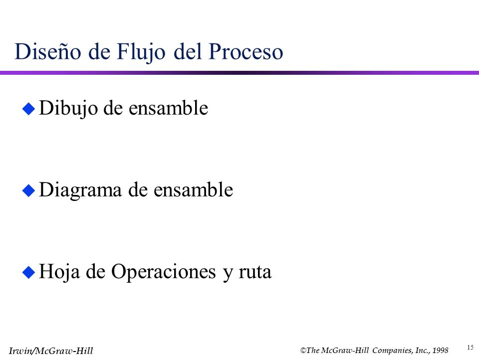 © The McGraw-Hill Companies, Inc., 1998 Irwin/McGraw-Hill 15 Diseño de Flujo del Proceso u Dibujo de ensamble u Diagrama de ensamble u Hoja de Operaci