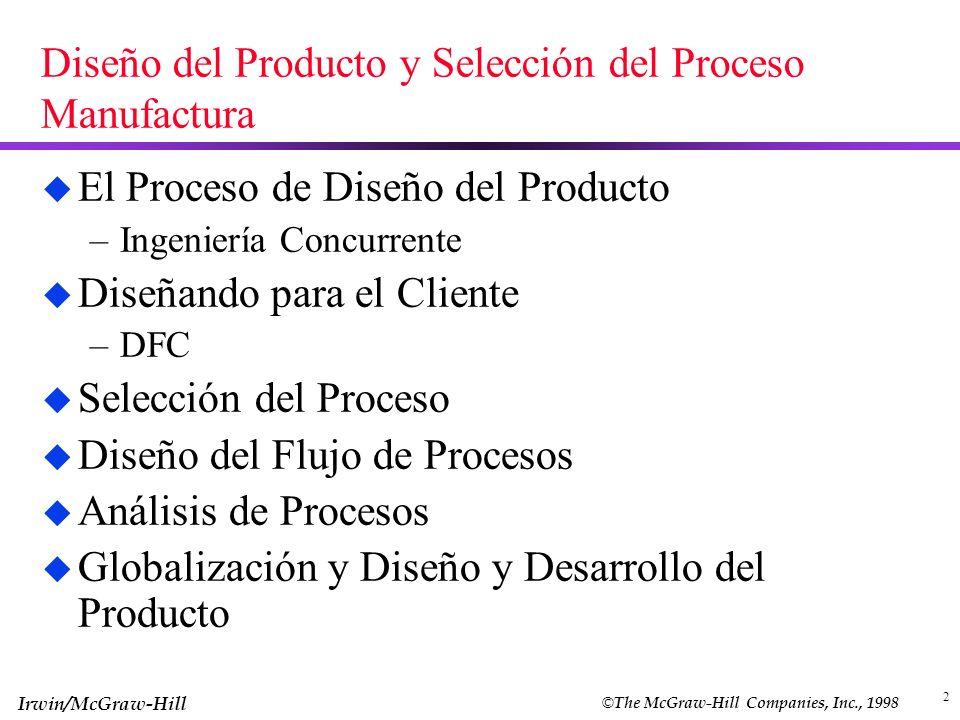 © The McGraw-Hill Companies, Inc., 1998 Irwin/McGraw-Hill 2 Diseño del Producto y Selección del Proceso Manufactura u El Proceso de Diseño del Product