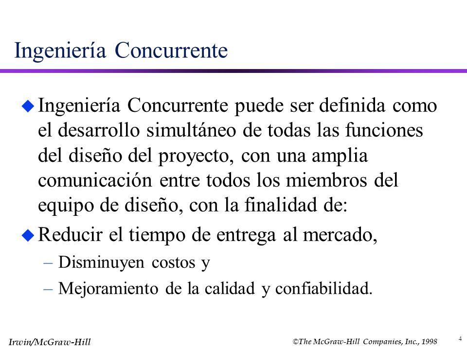 © The McGraw-Hill Companies, Inc., 1998 Irwin/McGraw-Hill 4 Ingeniería Concurrente u Ingeniería Concurrente puede ser definida como el desarrollo simu