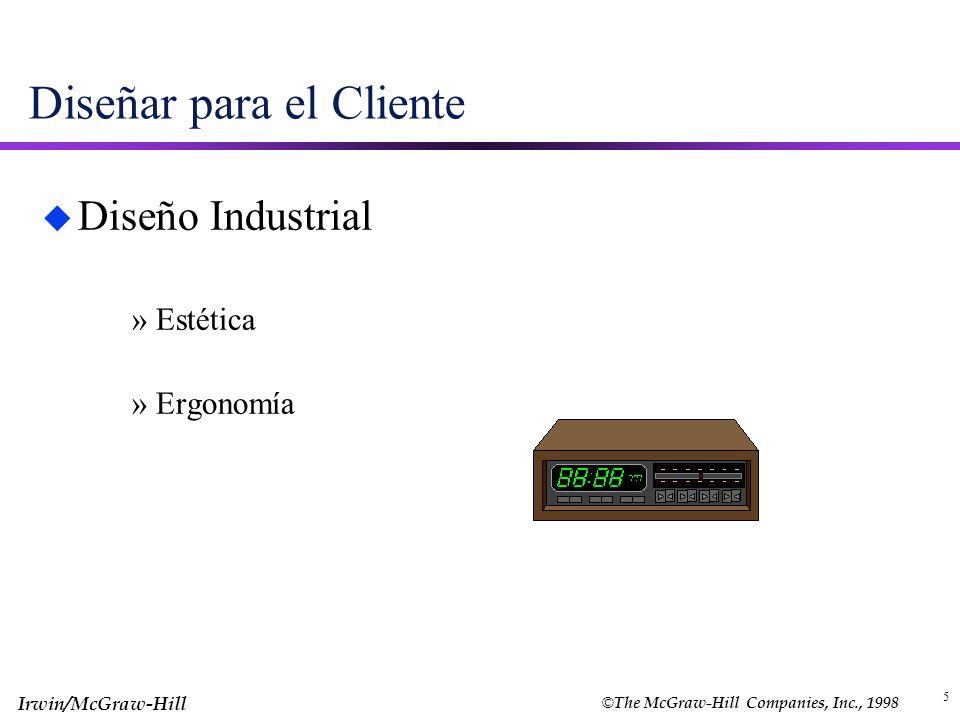 © The McGraw-Hill Companies, Inc., 1998 Irwin/McGraw-Hill 5 Diseñar para el Cliente u Diseño Industrial »Estética »Ergonomía