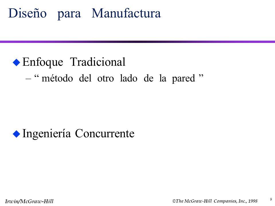 © The McGraw-Hill Companies, Inc., 1998 Irwin/McGraw-Hill 9 Diseño para Manufactura u Enfoque Tradicional – método del otro lado de la pared u Ingenie