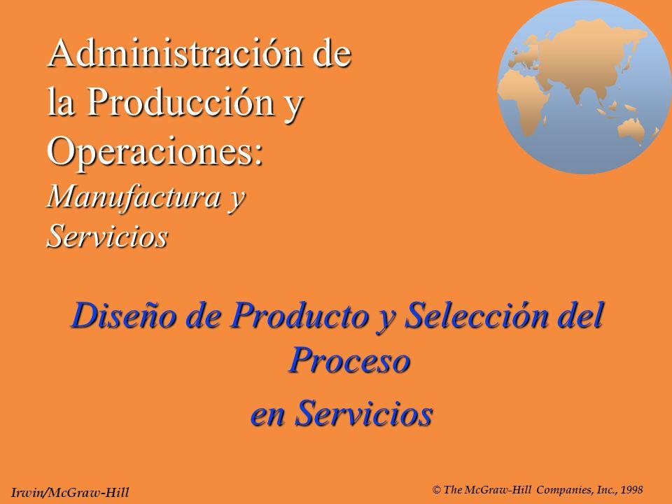 Administración de la Producción y Operaciones: Manufactura y Servicios Diseño de Producto y Selección del Proceso en Servicios en Servicios © The McGr