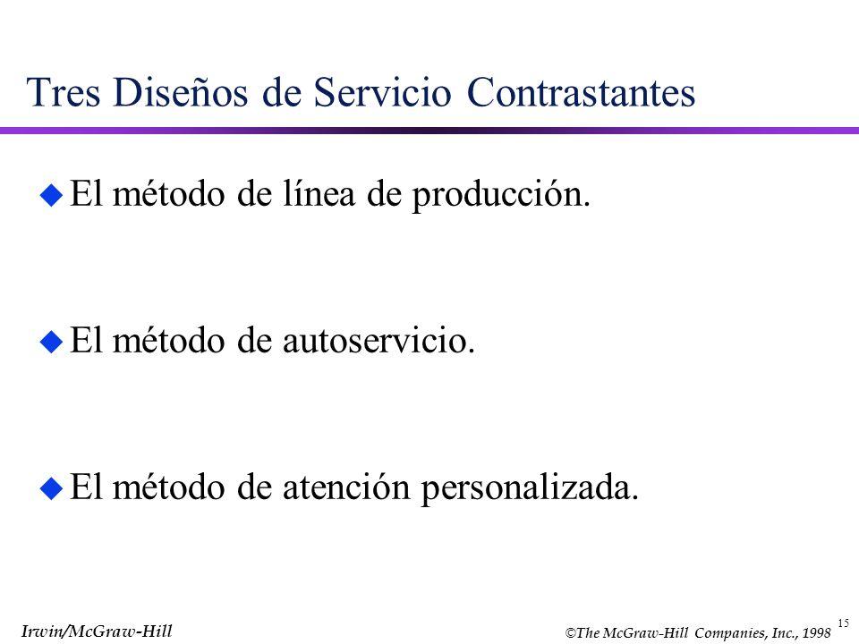 © The McGraw-Hill Companies, Inc., 1998 Irwin/McGraw-Hill 15 Tres Diseños de Servicio Contrastantes u El método de línea de producción. u El método de