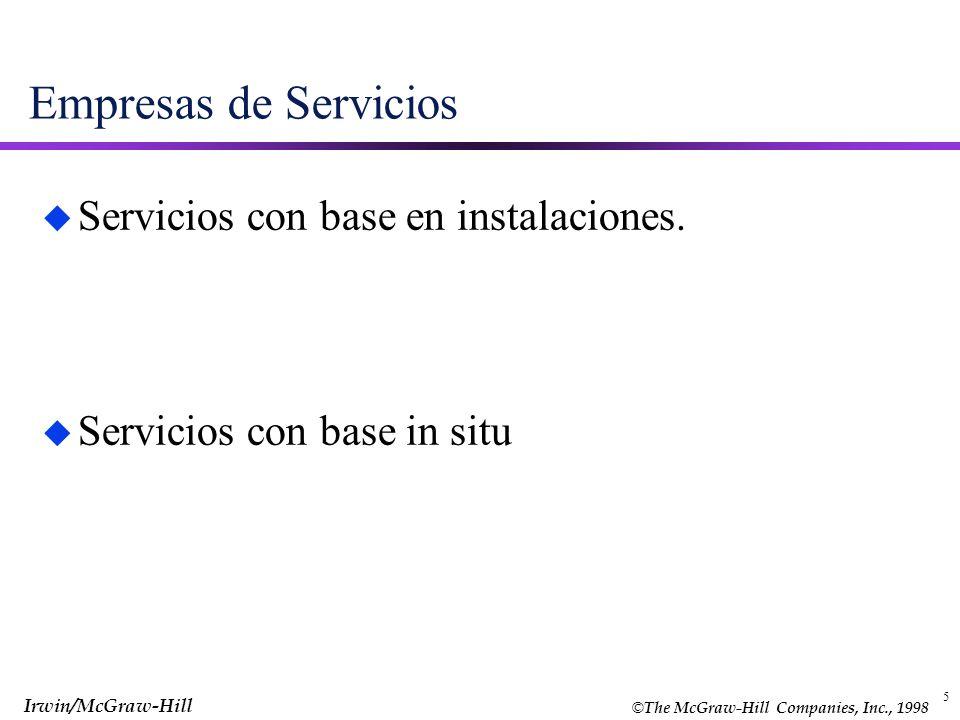 © The McGraw-Hill Companies, Inc., 1998 Irwin/McGraw-Hill 5 Empresas de Servicios u Servicios con base en instalaciones. Servicios con base in situ