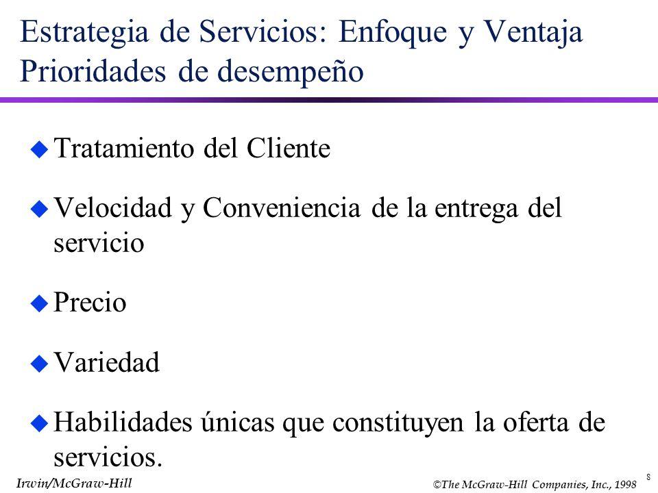 © The McGraw-Hill Companies, Inc., 1998 Irwin/McGraw-Hill 8 Estrategia de Servicios: Enfoque y Ventaja Prioridades de desempeño u Tratamiento del Clie