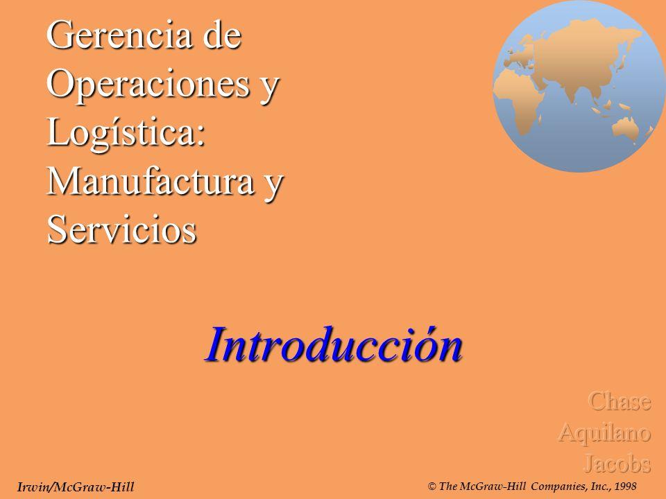 Gerencia de Operaciones y Logística: Manufactura y Servicios Introducción Irwin/McGraw-Hill © The McGraw-Hill Companies, Inc., 1998