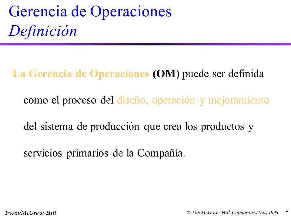 Irwin/McGraw-Hill © The McGraw-Hill Companies, Inc., 1998 4 Gerencia de Operaciones Definición La Gerencia de Operaciones (OM) puede ser definida como