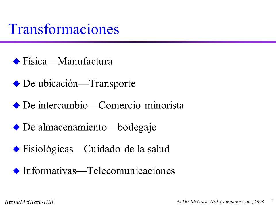 Irwin/McGraw-Hill © The McGraw-Hill Companies, Inc., 1998 7 Transformaciones u FísicaManufactura u De ubicaciónTransporte u De intercambioComercio min