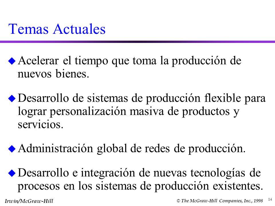 Irwin/McGraw-Hill © The McGraw-Hill Companies, Inc., 1998 14 Temas Actuales u Acelerar el tiempo que toma la producción de nuevos bienes. u Desarrollo