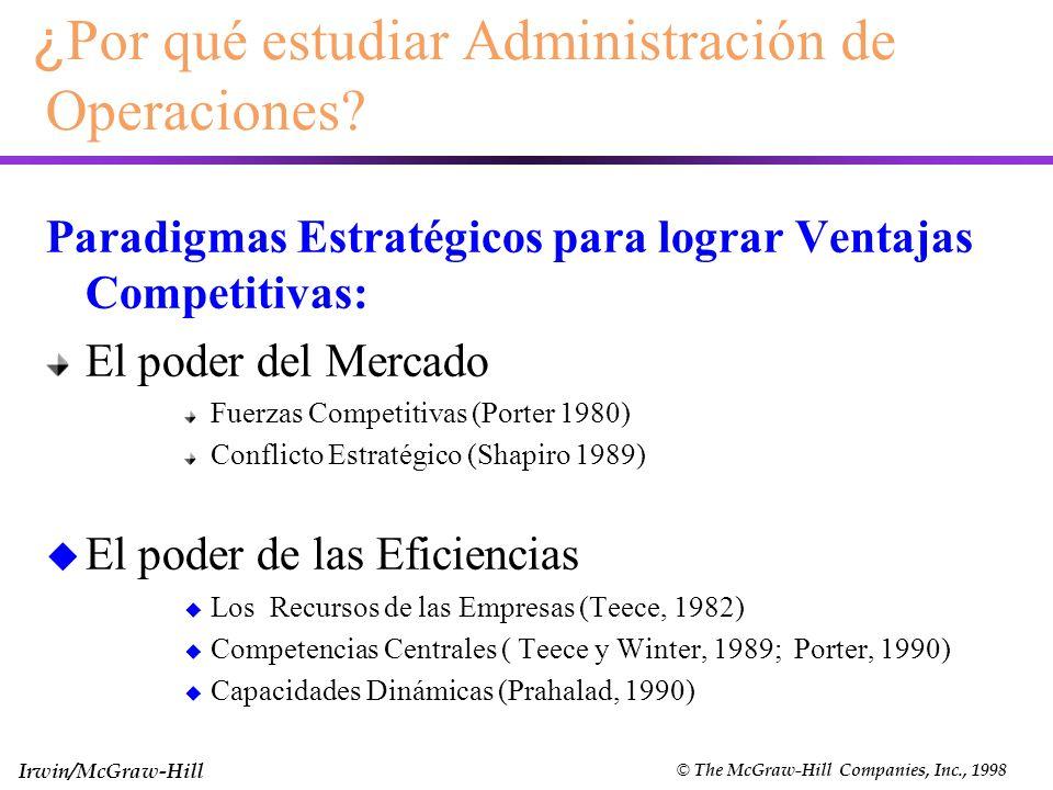 Irwin/McGraw-Hill © The McGraw-Hill Companies, Inc., 1998 ¿ Por qué estudiar Administración de Operaciones? Paradigmas Estratégicos para lograr Ventaj