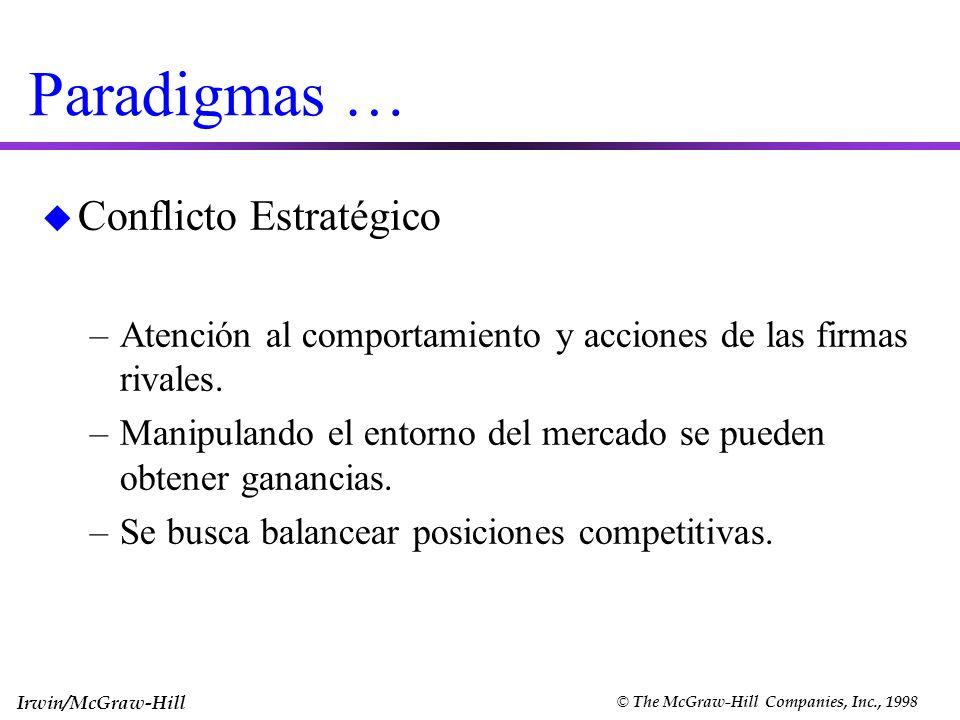 Irwin/McGraw-Hill © The McGraw-Hill Companies, Inc., 1998 Paradigmas … u Conflicto Estratégico –Atención al comportamiento y acciones de las firmas ri