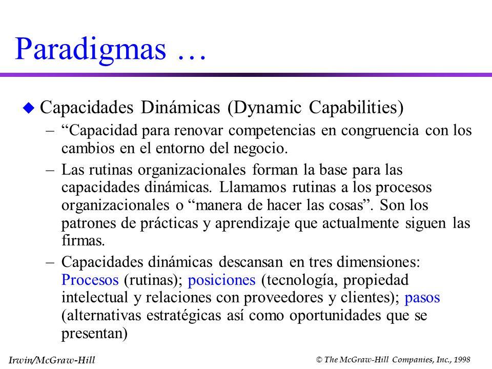 Irwin/McGraw-Hill © The McGraw-Hill Companies, Inc., 1998 Paradigmas … u Capacidades Dinámicas (Dynamic Capabilities) –Capacidad para renovar competen