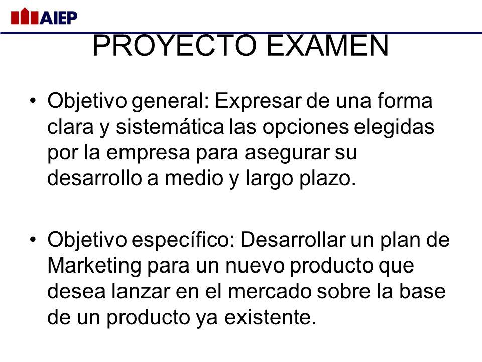 PROYECTO EXAMEN Objetivo general: Expresar de una forma clara y sistemática las opciones elegidas por la empresa para asegurar su desarrollo a medio y