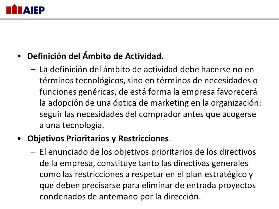 Definición del Ámbito de Actividad. –La definición del ámbito de actividad debe hacerse no en términos tecnológicos, sino en términos de necesidades o