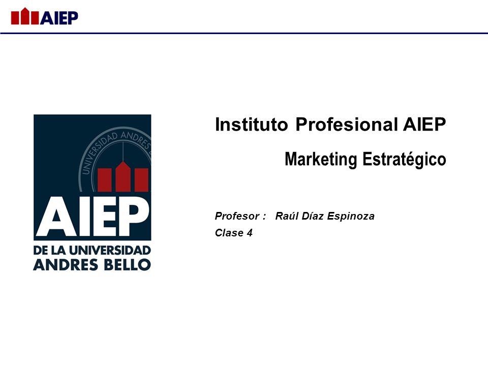 Instituto Profesional AIEP Marketing Estratégico Profesor : Raúl Díaz Espinoza Clase 4