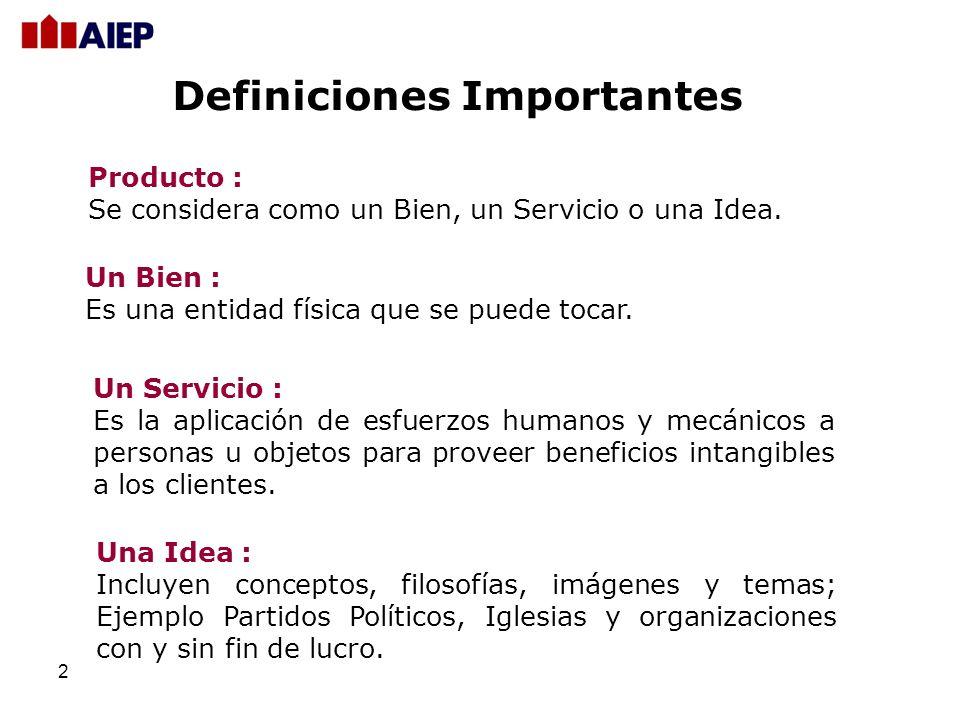 2 Definiciones Importantes Producto : Se considera como un Bien, un Servicio o una Idea.