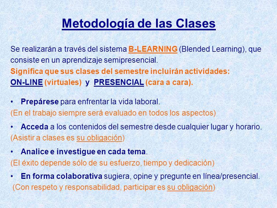 Metodología de las Clases Se realizarán a través del sistema B-LEARNING (Blended Learning), que consiste en un aprendizaje semipresencial. Significa q