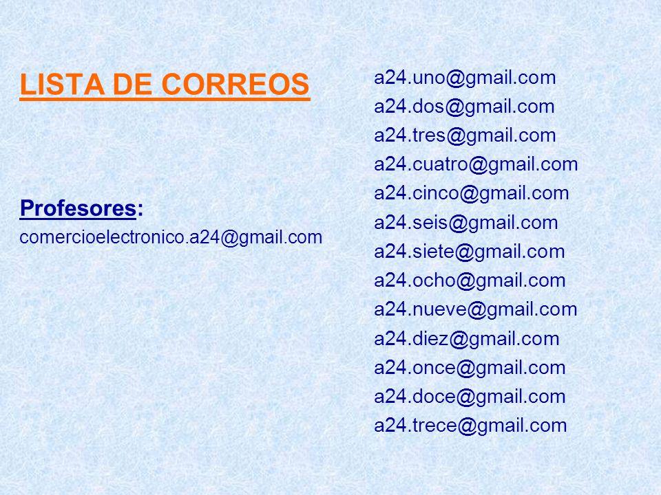 LISTA DE CORREOS Profesores: comercioelectronico.a24@gmail.com a24.uno@gmail.com a24.dos@gmail.com a24.tres@gmail.com a24.cuatro@gmail.com a24.cinco@g