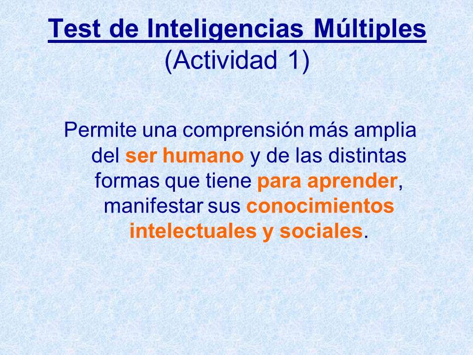 Test de Inteligencias Múltiples (Actividad 1) Permite una comprensión más amplia del ser humano y de las distintas formas que tiene para aprender, man