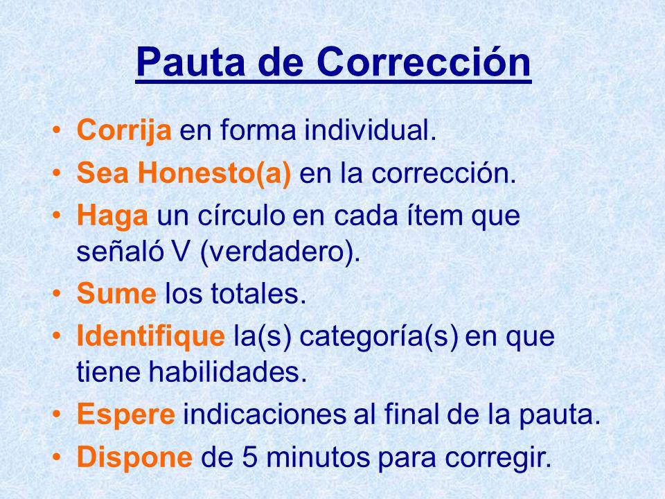 Pauta de Corrección Corrija en forma individual. Sea Honesto(a) en la corrección. Haga un círculo en cada ítem que señaló V (verdadero). Sume los tota