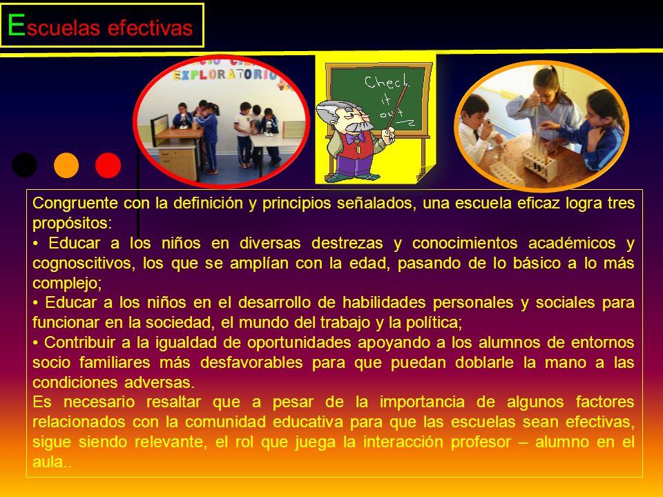 E scuelas efectivas Congruente con la definición y principios señalados, una escuela eficaz logra tres propósitos: Educar a los niños en diversas dest