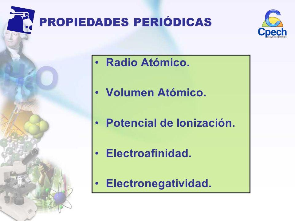 Radio Atómico. Volumen Atómico. Potencial de Ionización. Electroafinidad. Electronegatividad. PROPIEDADES PERIÓDICAS