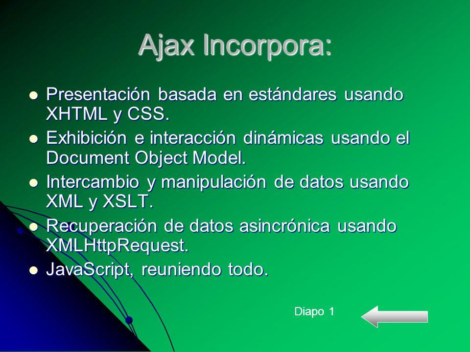 Ajax Incorpora: Presentación basada en estándares usando XHTML y CSS.