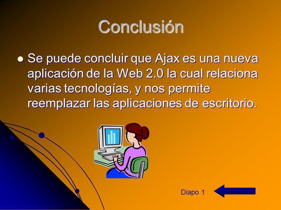 Conclusión Se puede concluir que Ajax es una nueva aplicación de la Web 2.0 la cual relaciona varias tecnologías, y nos permite reemplazar las aplicaciones de escritorio.