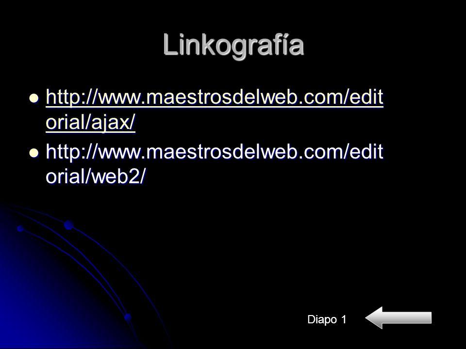 Linkografía http://www.maestrosdelweb.com/edit orial/ajax/ http://www.maestrosdelweb.com/edit orial/ajax/ http://www.maestrosdelweb.com/edit orial/ajax/ http://www.maestrosdelweb.com/edit orial/ajax/ http://www.maestrosdelweb.com/edit orial/web2/ http://www.maestrosdelweb.com/edit orial/web2/ Diapo 1