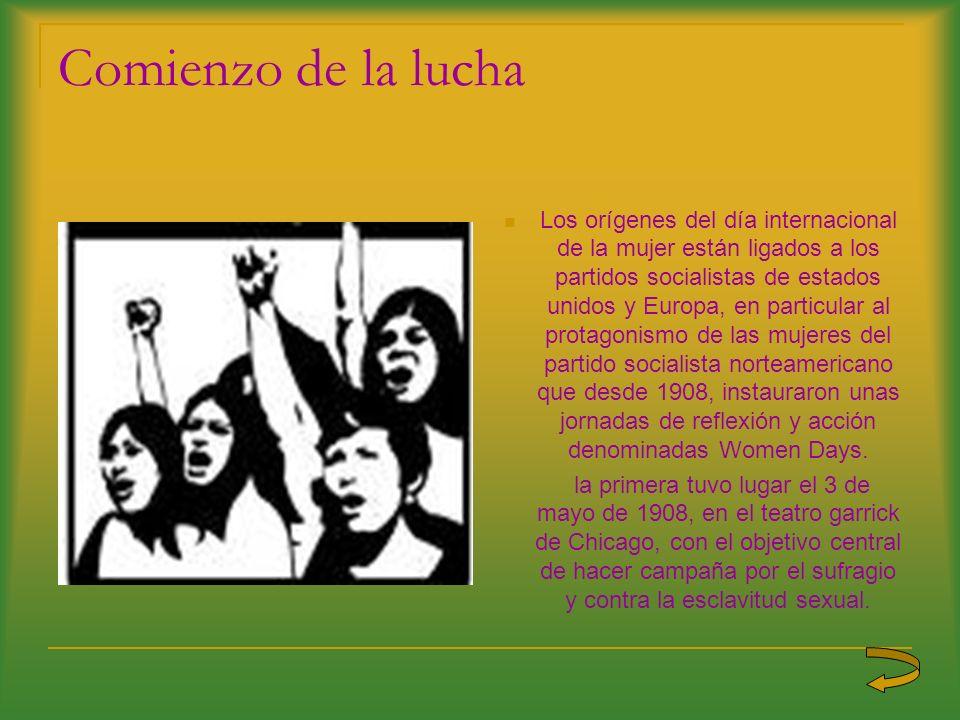 Comienzo de la lucha Los orígenes del día internacional de la mujer están ligados a los partidos socialistas de estados unidos y Europa, en particular
