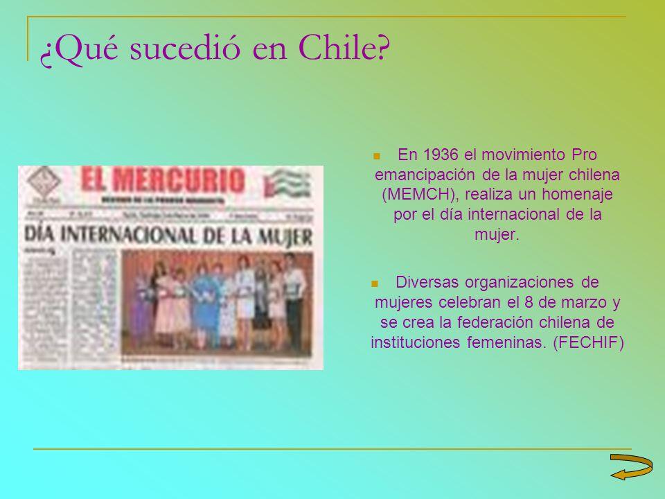 ¿Qué sucedió en Chile? En 1936 el movimiento Pro emancipación de la mujer chilena (MEMCH), realiza un homenaje por el día internacional de la mujer. D