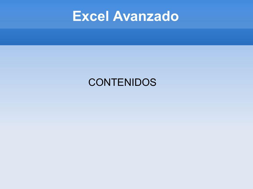 Excel Avanzado CONTENIDOS
