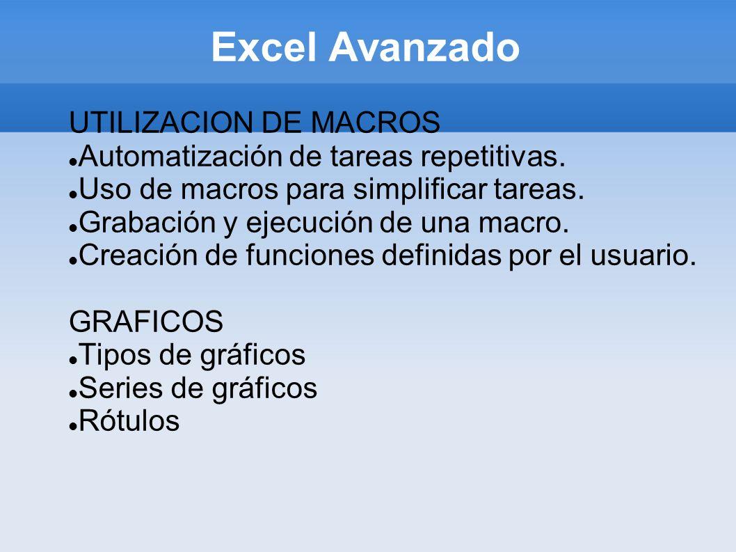 Excel Avanzado UTILIZACION DE MACROS Automatización de tareas repetitivas. Uso de macros para simplificar tareas. Grabación y ejecución de una macro.