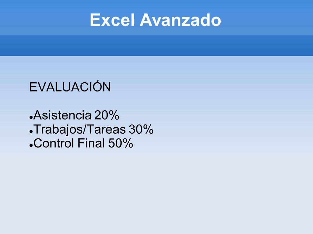 Excel Avanzado EVALUACIÓN Asistencia 20% Trabajos/Tareas 30% Control Final 50%