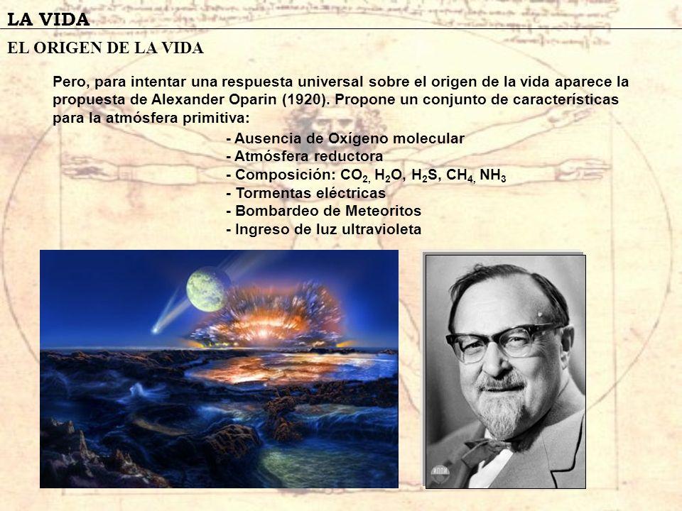 LA VIDA EL ORIGEN DE LA VIDA Pero, para intentar una respuesta universal sobre el origen de la vida aparece la propuesta de Alexander Oparin (1920). P