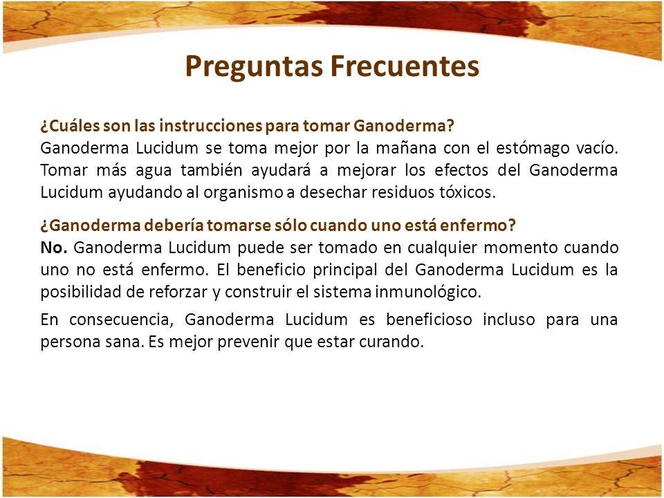 ¿Cuáles son las instrucciones para tomar Ganoderma? Ganoderma Lucidum se toma mejor por la mañana con el estómago vacío. Tomar más agua también ayudar