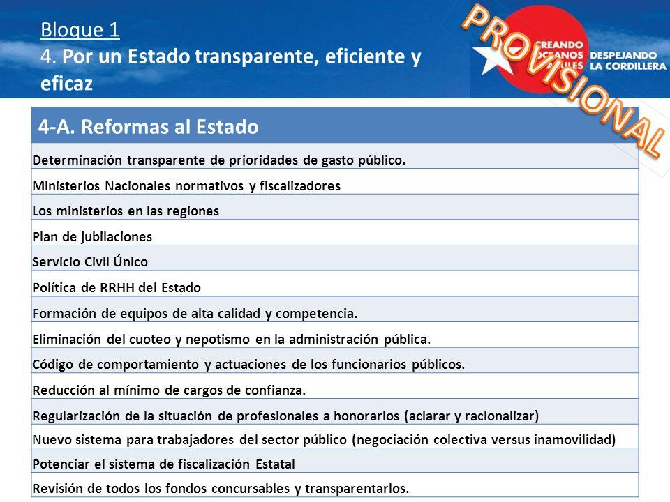 Bloque 1 4. Por un Estado transparente, eficiente y eficaz 4-A. Reformas al Estado Determinación transparente de prioridades de gasto público. Ministe
