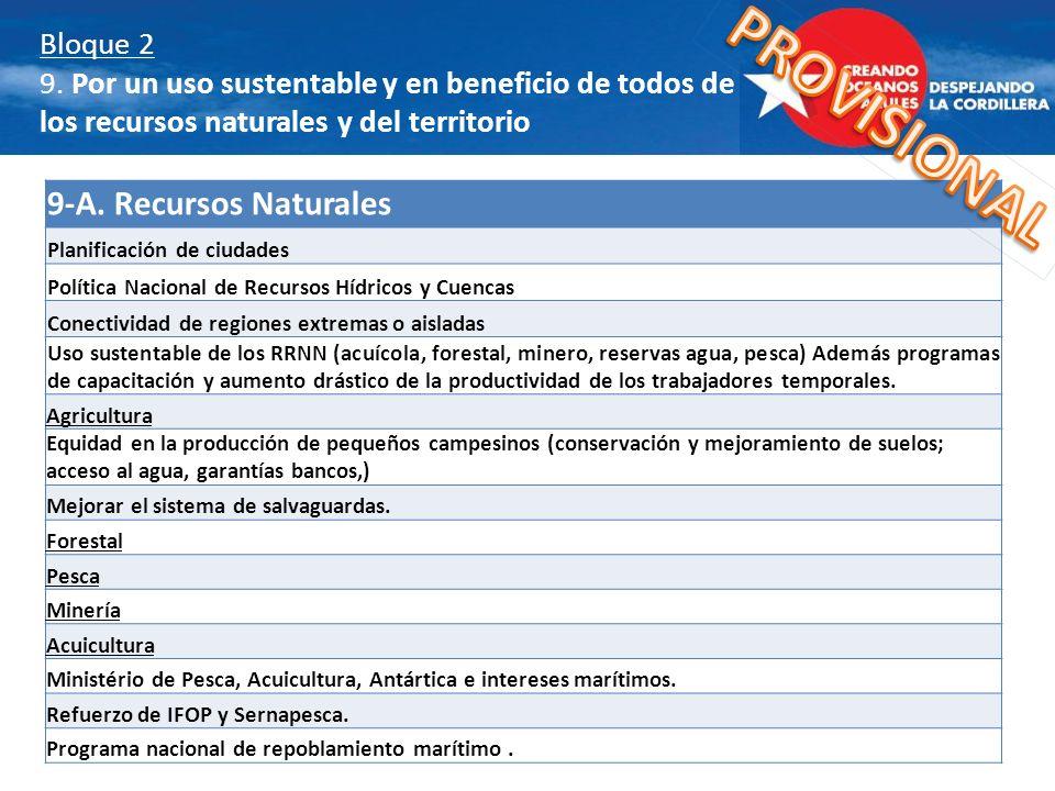 Bloque 2 9. Por un uso sustentable y en beneficio de todos de los recursos naturales y del territorio 9-A. Recursos Naturales Planificación de ciudade