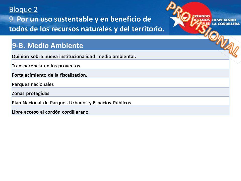Bloque 2 9. Por un uso sustentable y en beneficio de todos de los recursos naturales y del territorio. 9-B. Medio Ambiente Opinión sobre nueva institu