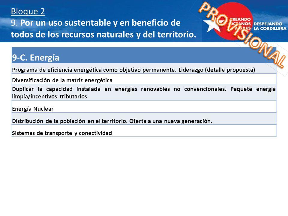 9-C. Energía Programa de eficiencia energética como objetivo permanente. Liderazgo (detalle propuesta) Diversificación de la matriz energética Duplica