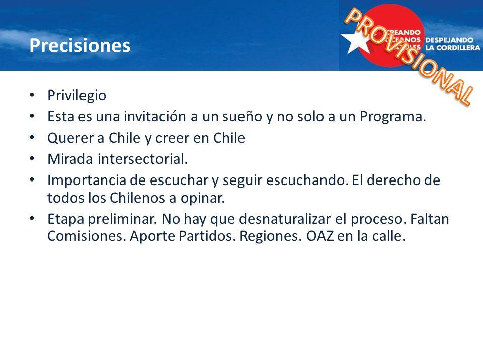 Precisiones Privilegio Esta es una invitación a un sueño y no solo a un Programa. Querer a Chile y creer en Chile Mirada intersectorial. Importancia d