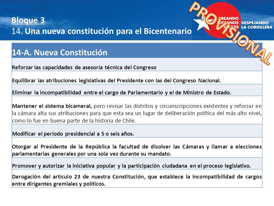 Bloque 3 14. Una nueva constitución para el Bicentenario A) Reforzar las capacidades de asesoría técnica del Congreso Equilibrar las atribuciones legi