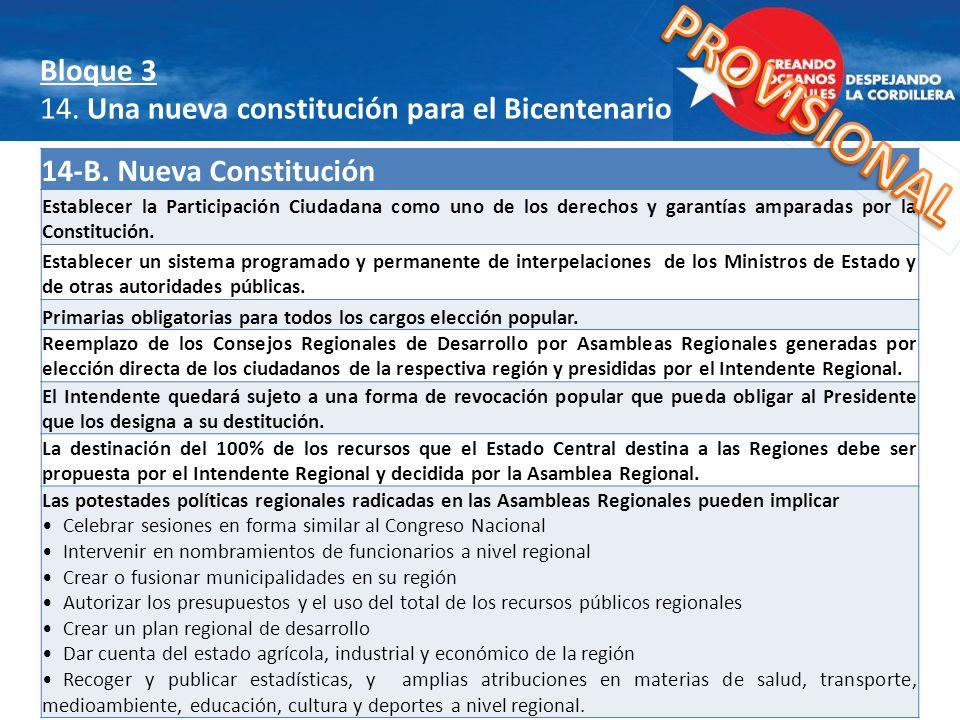 14-B. Nueva Constitución Establecer la Participación Ciudadana como uno de los derechos y garantías amparadas por la Constitución. Establecer un siste