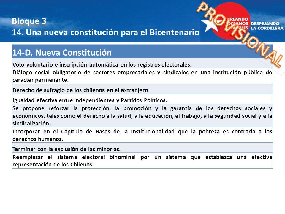 14-D. Nueva Constitución Voto voluntario e inscripción automática en los registros electorales. Diálogo social obligatorio de sectores empresariales y