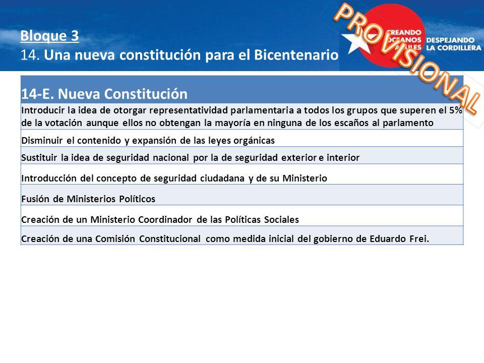 14-E. Nueva Constitución Introducir la idea de otorgar representatividad parlamentaria a todos los grupos que superen el 5% de la votación aunque ello